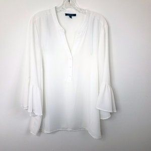 White Semi Sheer Bell Sleeve BoHo Blouse Shirt Top